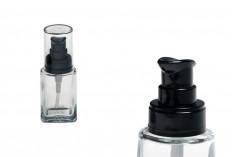 Μπουκαλάκι γυάλινο για κρέμα 30 ml με πλαστική μαύρη αντλία και διάφανο καπάκι