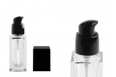 Μπουκαλάκι 30 ml γυάλινο, τετράγωνο 103x32 mm με μαύρη αντλία και καπάκι