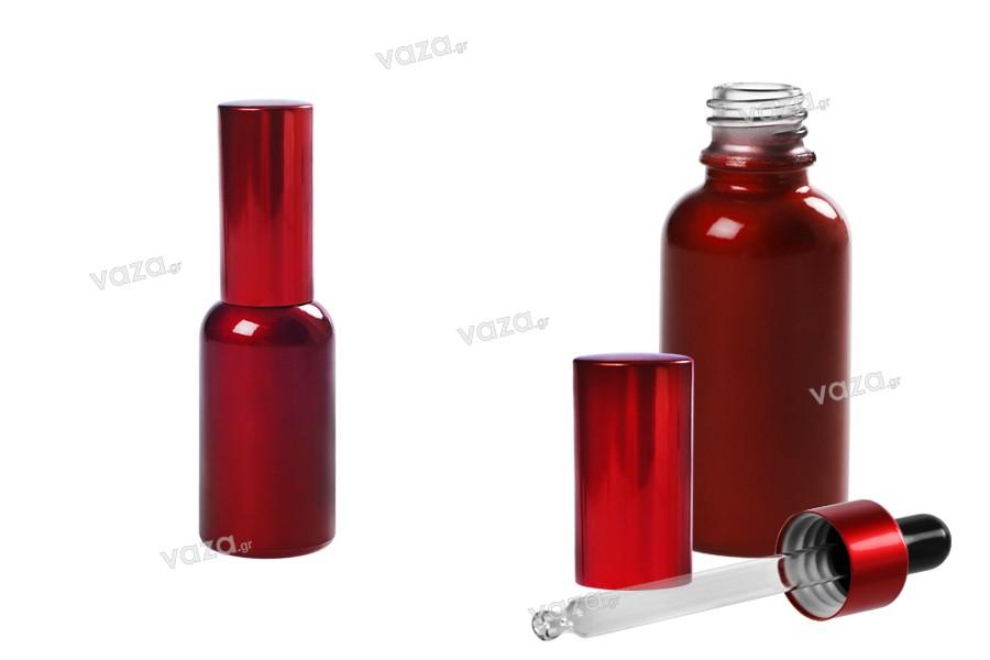 Flacon de 30 ml en verre rouge avec compte-gouttes et couvercle