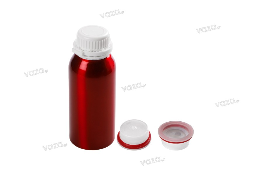 Φιάλη αλουμινίου 500 ml  με τάπα και καπάκι για αποθήκευση essence, αρωμάτων και αλκοολούχων διαλυμάτων