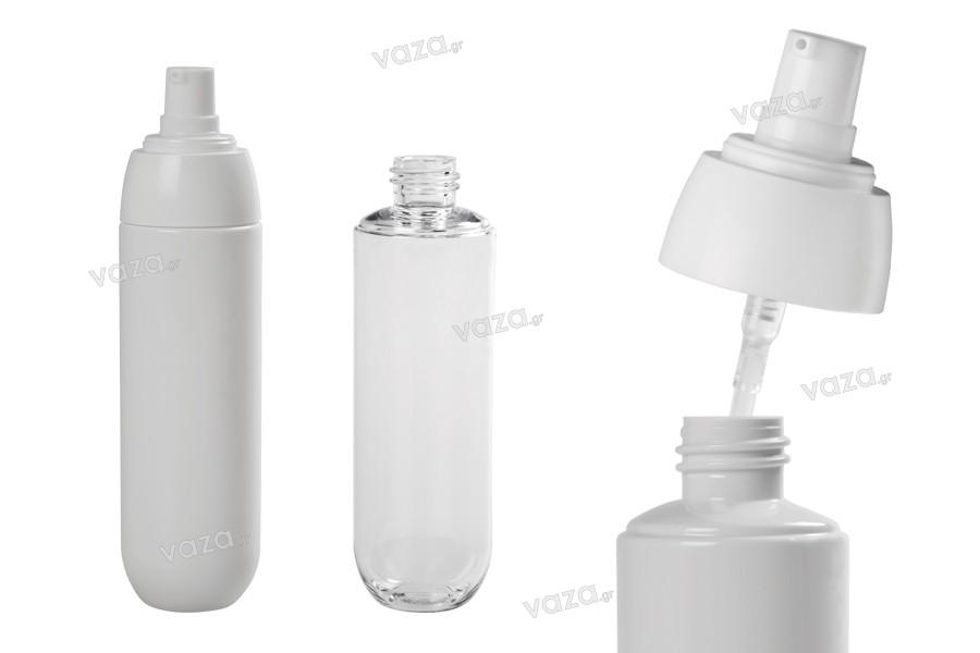 Flacon en plastique PET à pompe blanche de 100ml, avec couvercle transparent