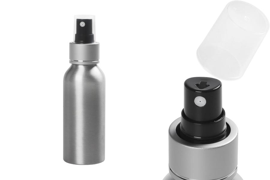 Bouteille en aluminium de 100 ml avec vaporisateur et couvercle transparent en plastique