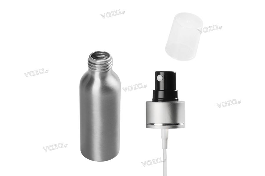 Flacon en aluminium de 100ml avec vaporisateur et couvercle transparent en plastique -paquet de 10 pièces