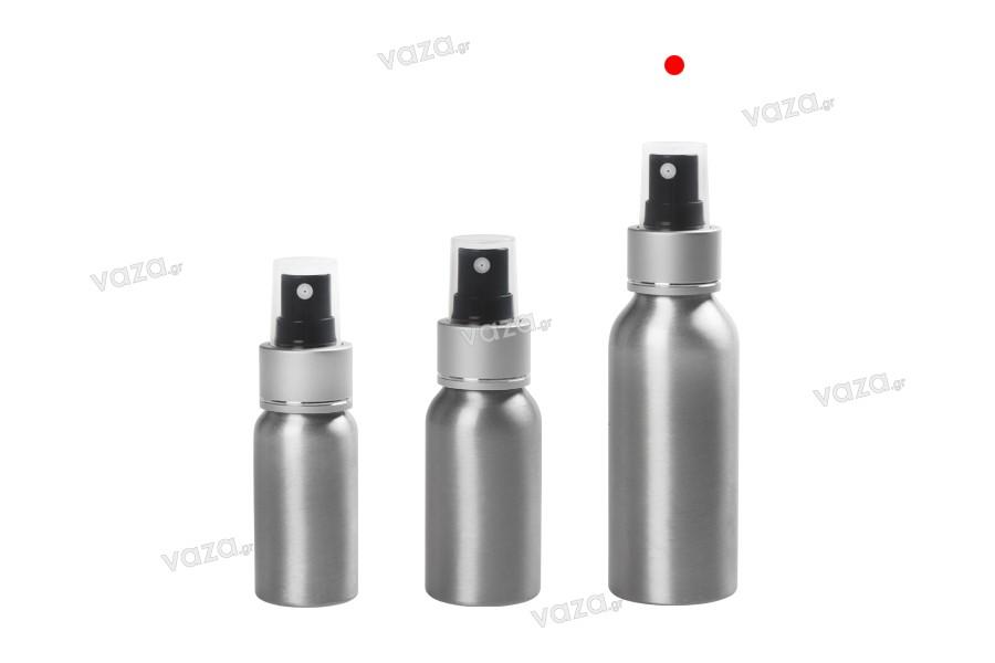 Φιάλη αλουμινίου 100 ml με σπρέι και πλαστικό διάφανο καπάκι - 10 τμχ
