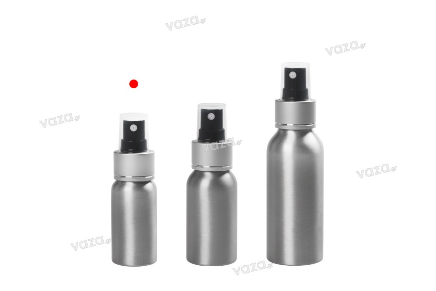 Flacon en aluminium de 30ml avec vaporisateur et couvercle transparent en plastique -paquet de 10 pièces