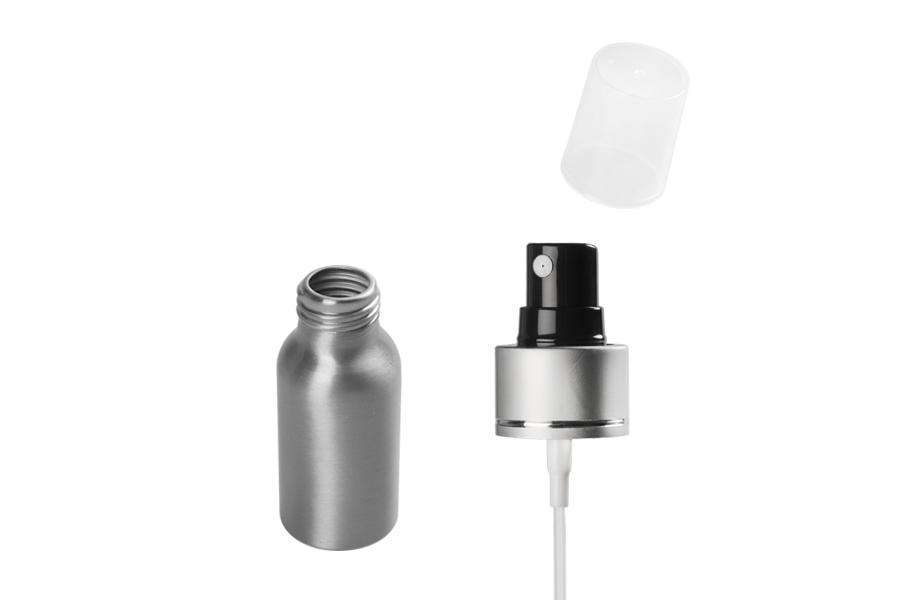 Bouteille en aluminium de 50 ml avec vaporisateur et couvercle transparent en plastique