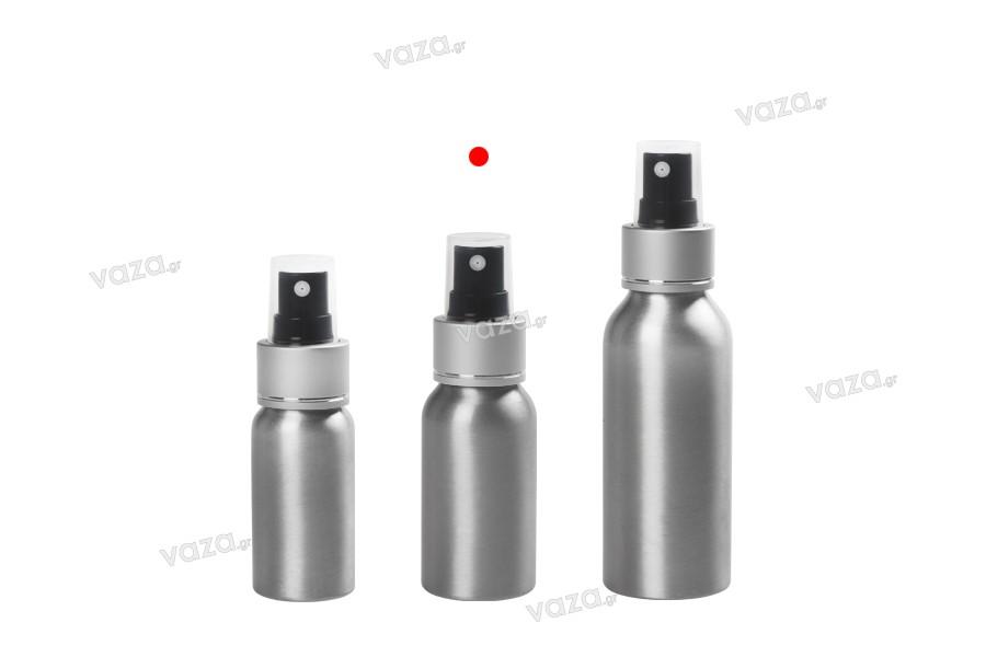 Flacon en aluminium de 50ml avec vaporisateur et couvercle transparent en plastique -paquet de 10 pièces