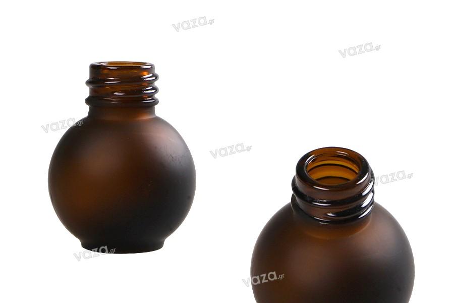 Flacon en verre de 10 ml, sphérique de couleur caramel sablé