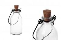 Bouteille en verre avec anse métallique et liège conique 100 ml