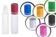 Φιάλη γυάλινη Rollon 10 ml αμμοβολής με γυάλινη μπίλια σε διάφορα χρώματα