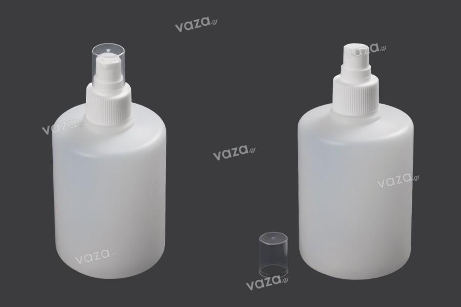 Μπουκάλι πλαστικό 300 ml με αντλία 24/410 και καπάκι για αντισηπτικά χεριών και προϊόντα καθαρισμού