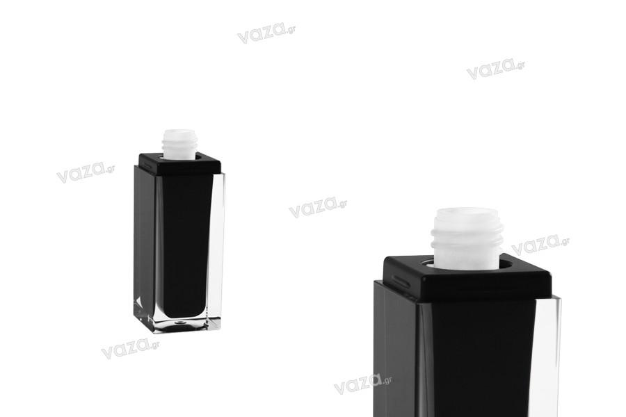 Flacon luxueux de 30ml noir, avec pompe et couvercle