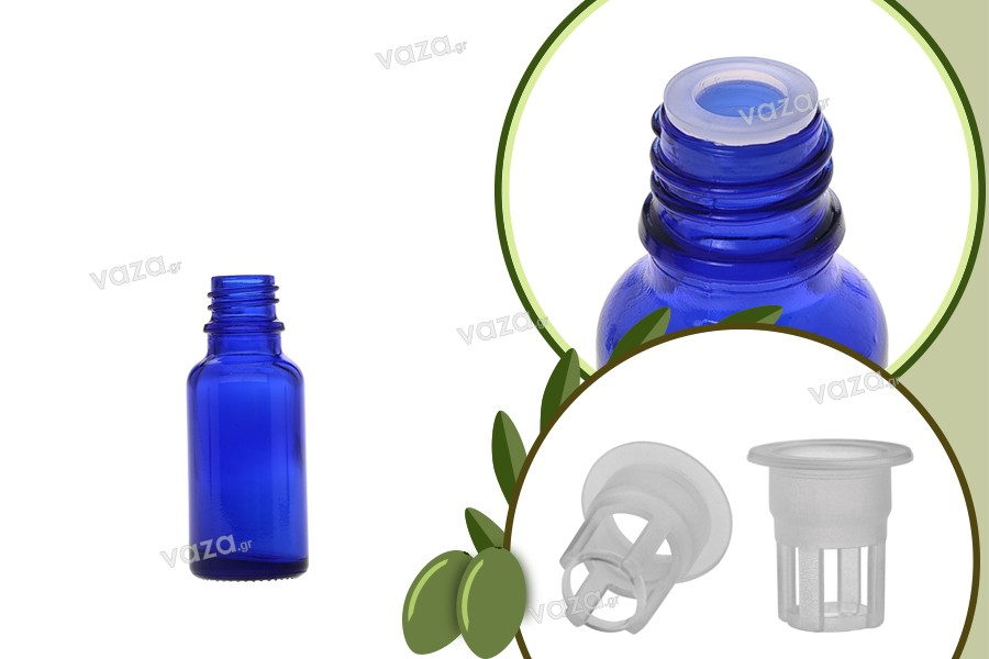 Μπουκαλάκι για μερίδα ελαιολάδου 20 ml γυάλινο μπλε