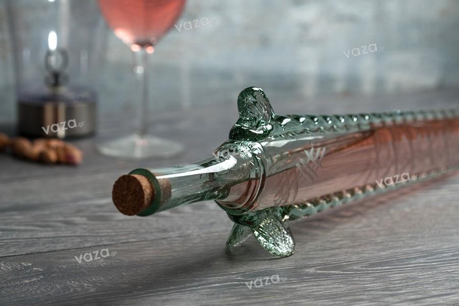Μπουκάλι από φυσητό γυαλί 400 ml σε σχήμα οξύρρυγχου 61 cm με φυσικό φελλό