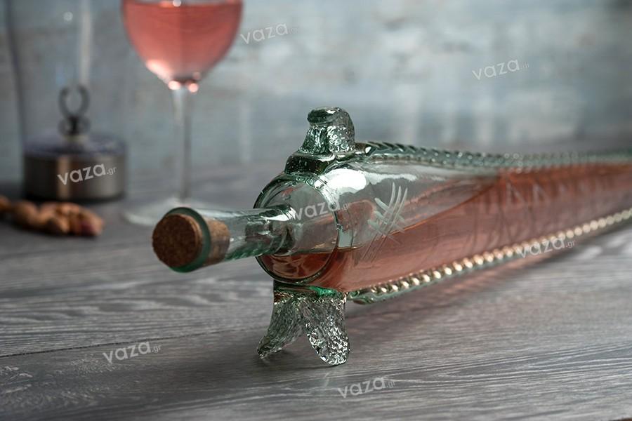 Μπουκάλι από φυσητό γυαλί 430 ml σε σχήμα οξύρρυγχου 64 cm με φυσικό φελλό