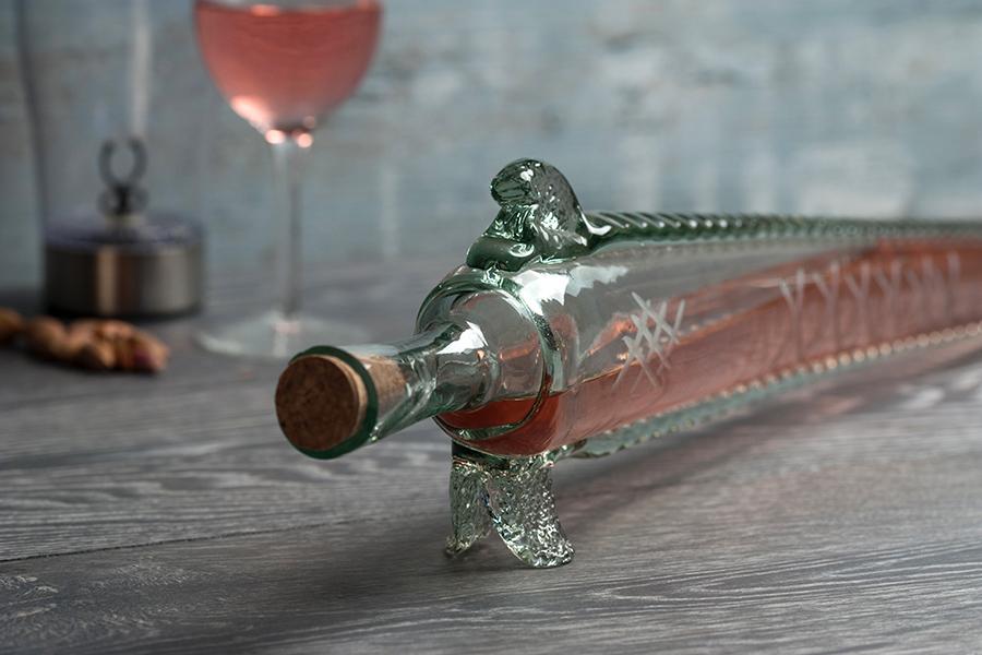 Μπουκάλι από φυσητό γυαλί 450 ml σε σχήμα οξύρρυγχου 66 cm με φυσικό φελλό
