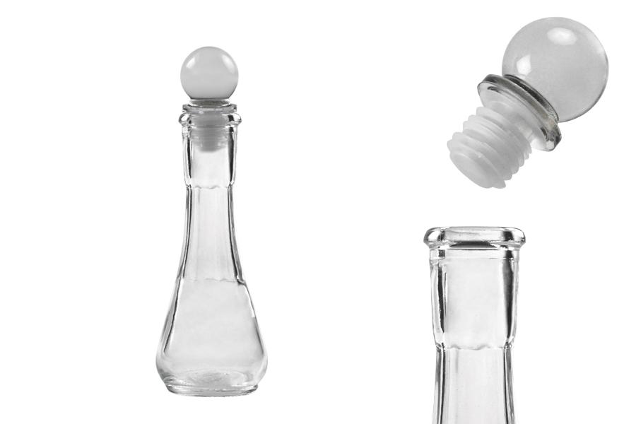 Flacon de 50 ml transparent avec bouchon en verre