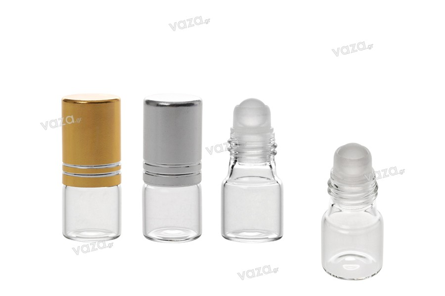 Φιαλίδιο rollon 2 ml γυάλινο σε διάφορα χρώματα