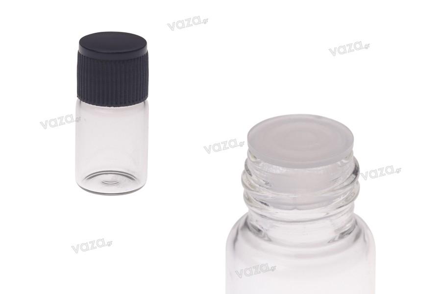 Μπουκαλάκι 2 ml μινιατούρα, γυάλινο, διάφανο 16x30 με μαύρο καπάκι και πλαστική τάπα