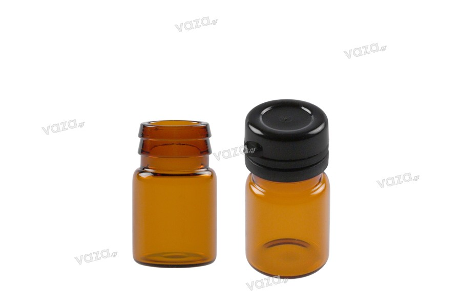 Flacon en verre ambré de 3ml avec couvercle noir en plastique à sertir et fermeture inviolable pour des médicaments et des médicaments homéopathiques