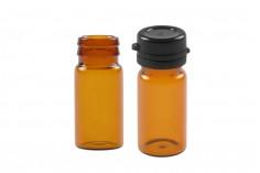 Φιαλίδιο 5 ml γυάλινο καραμελέ με μαύρο, πλαστικό καπάκι ασφαλείας (κουμπωτό) για φάρμακα και ομοιοπαθητικά