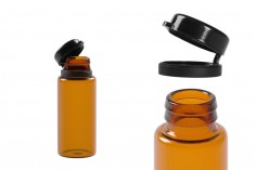 Φιαλίδιο 10 ml γυάλινο καραμελέ με μαύρο, πλαστικό καπάκι ασφαλείας (κουμπωτό) για φάρμακα και ομοιοπαθητικά