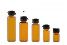 Φιαλίδιο 15 ml γυάλινο καραμελέ με μαύρο, πλαστικό καπάκι ασφαλείας (κουμπωτό) για φάρμακα και ομοιοπαθητικά