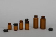 Φιαλίδιο 20 ml γυάλινο καραμελέ με μαύρο, πλαστικό καπάκι ασφαλείας (κουμπωτό) για φάρμακα και ομοιοπαθητικά