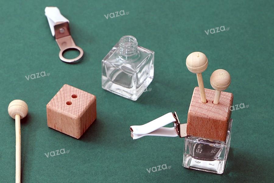 Μπουκαλάκι για αρωματικό αυτοκινήτου 7 ml με ξύλινο καπάκι, sticks και τάπα - 25 τμχ