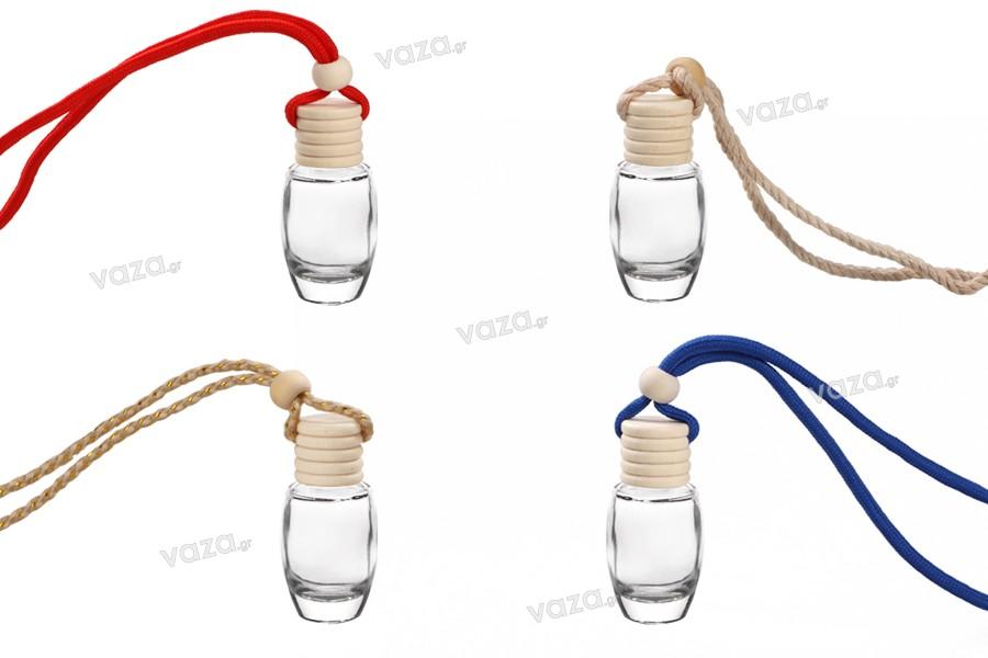 Μπουκαλάκι 10 ml για αρωματικό αυτοκινήτου οβάλ με ξύλινο καπάκι - 25 τμχ