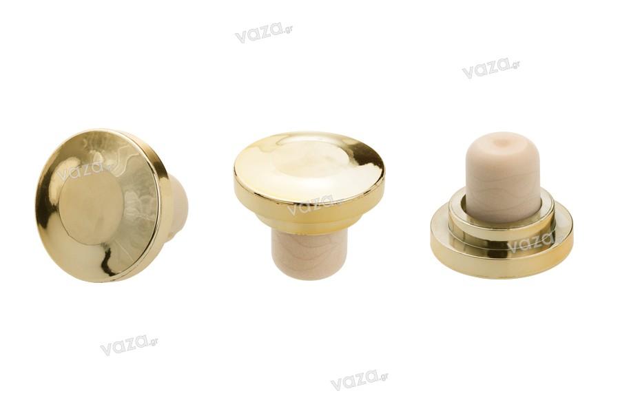 Συνθετικός φελλός σιλικόνης Φ 20 (38x18) με χρυσή πλαστική κεφαλή 903005