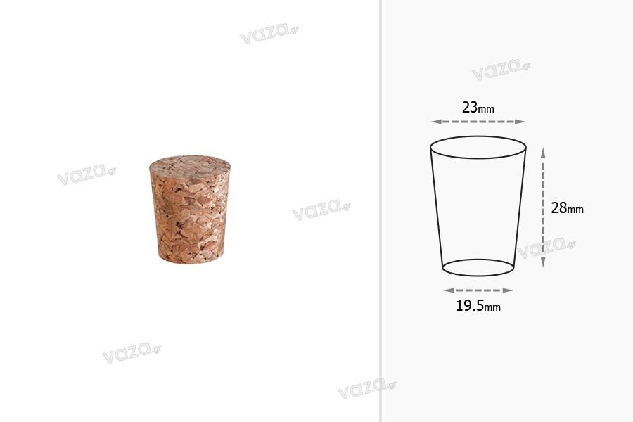 Φυσικός κωνικός φελλός με διαστάσεις 28x23/19.5 mm - για Φ 21 (PP 31,5 / PP 30)