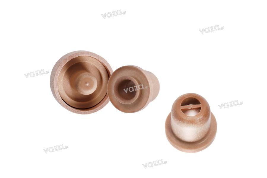Συνθετικός φελλός σιλικόνης με ροή και ξύλινη αποσπώμενη κεφαλή - Ф 18,5 mm
