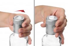 Guala πώμα ασφαλείας γκρι πλαστικό με μπίλια ροής - μιας χρήσης - για μπουκάλια με αντίστοιχο λαιμό