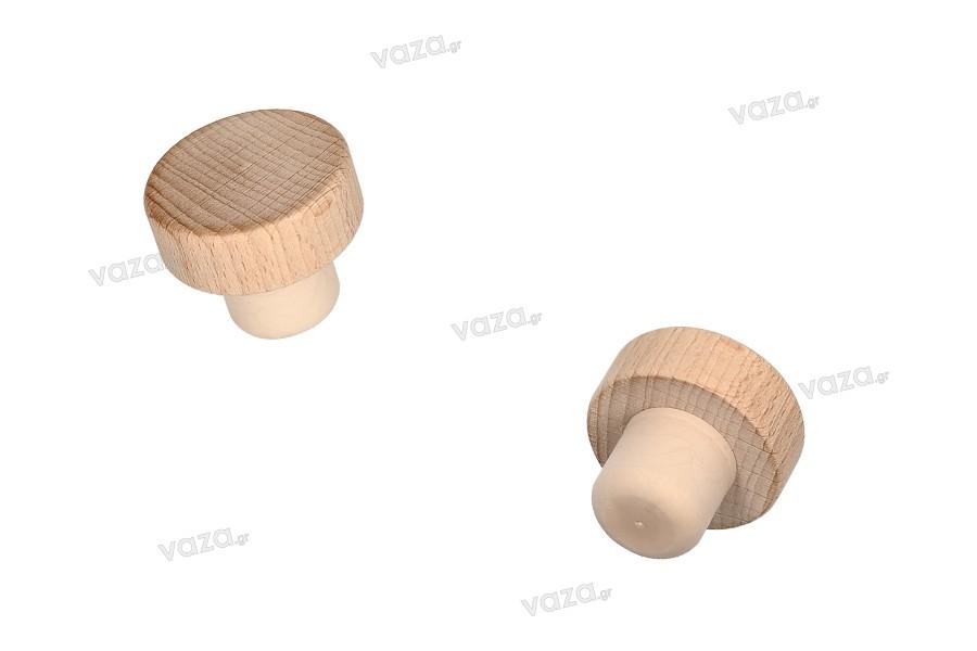 Συνθετικός φελλός σιλικόνης με ξύλινη κεφαλή - Ф 22 mm