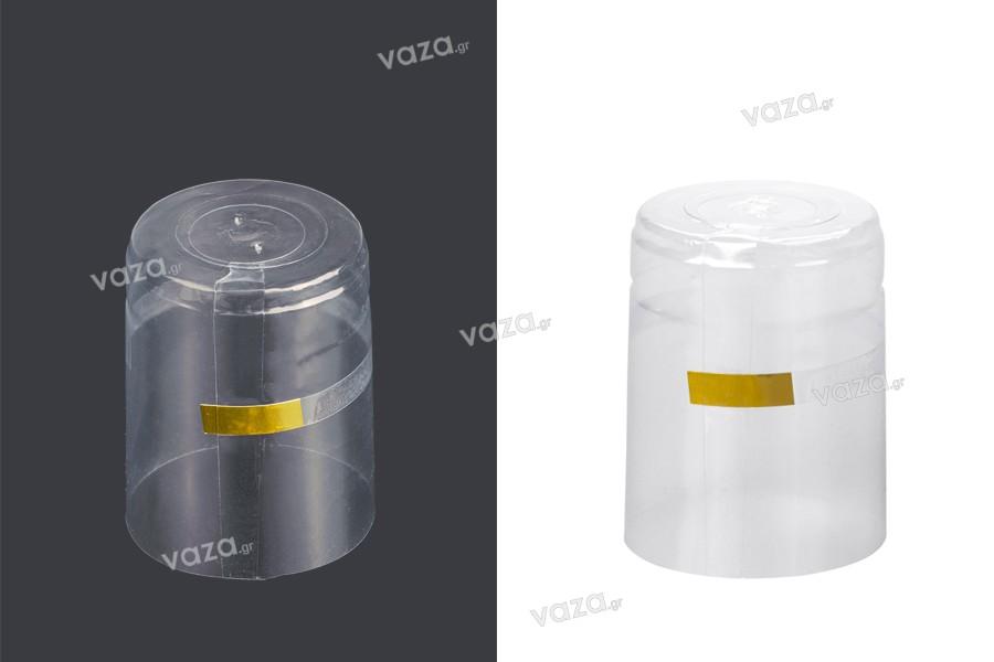 Καψύλιο 37x50 mm θερμοσυρρικνούμενο διάφανο για μπουκάλι με λαιμό μέχρι 37 mm
