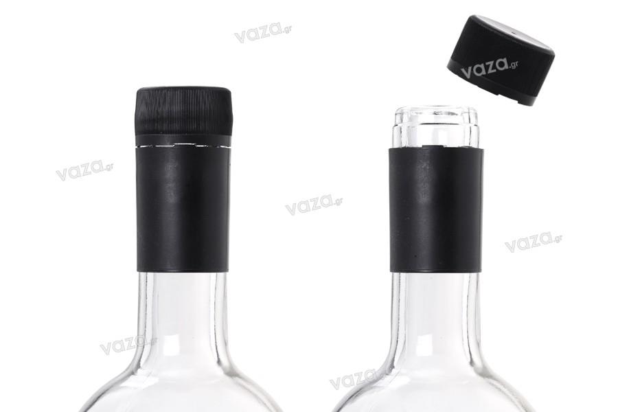 Καπάκι 30x60 πλαστικό, μαύρο με ασφάλεια ειδικό για μπουκάλια stelvin