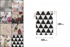 Πουγκάκι υφασμάτινο 100x140 mm σε διάφορα σχέδια - 50 τμχ
