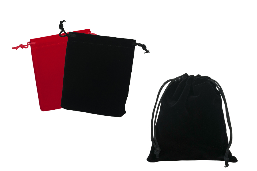 Pochette velours avec dimension 100x120 mm en couleurs différentes - 50 pcs