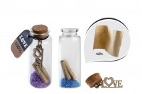Μπομπονιέρες μπουκαλάκια ευχών θαλασσινά, γυάλινα με φελλό σε κουτί 12 τμχ
