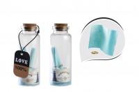 Petites bouteille pour bonbonnières à thème de mer en verre avec liège - boîte 12 pcs