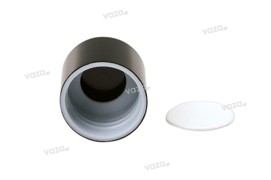 Καπάκι μαύρο πλαστικό με εσωτερικό παρέμβυσμα για φιάλη 100 ml (κωδ. 101-43)