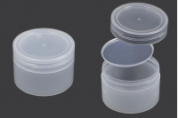 Pot de 210 ml en plastique, semi-transparent avec couvercle