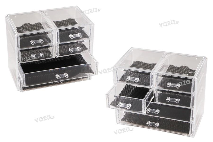 Θήκη οργάνωσης ακρυλική 240x135x200mm με 6 συρτάρια για κοσμήματα και καλλυντικά