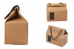 Boite - sac kraft avec fenêtre et cordon 180x100x160 - 20 pcs