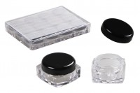 Square acrylic cream jar 5 ml with black cap in an acrylic case of 12 pieces