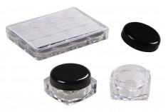 Βαζάκι ακρυλικό τετράγωνο 5 ml διάφανο με μαύρο καπάκι για κρέμες σε ακρυλική κασετίνα 12 τεμαχίων
