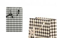 Τσάντα δώρου χάρτινη με σατέν χερούλι και φιόγκο 190x120x270 mm σε δύο χρώματα - 12άδα