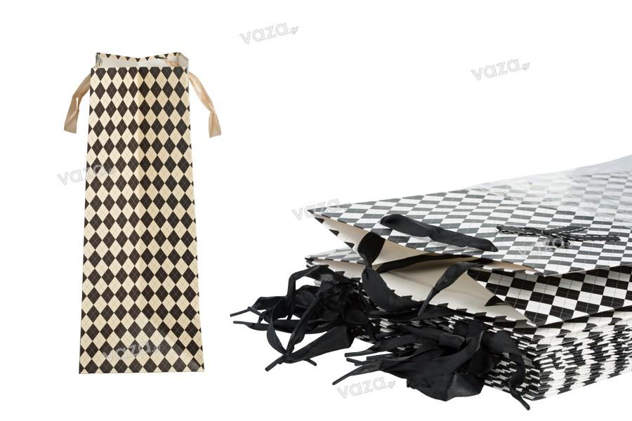 Τσάντα δώρου χάρτινη με σατέν χερούλι και φιόγκο 230x150x370 mm σε δύο χρώματα - 12άδα