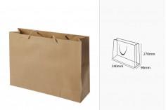 Sac cadeau en papier brun avec cordon torsadé 340x90x270 mm - 12 pcs